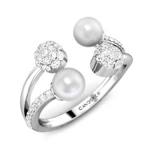 Jolie Pearl Diamond Gap Ring